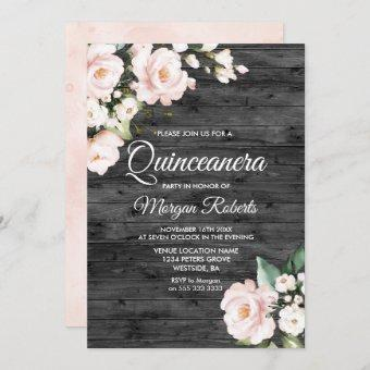 Rustic Blush Pink & White Floral Quinceanera Party Invitation