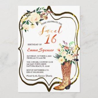 Rustic Boho Cowgirl Floral Boots Sweet 16 B'day Invitation