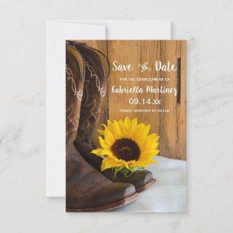 Rustic Country Sunflower Quinceañera Save the Date