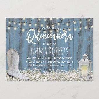 Rustic Floral Dusty Blue Quinceanera 15th Birthday Invitation