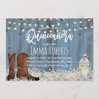Rustic Floral Dusty Blue Quinceanera Birthday Invitation