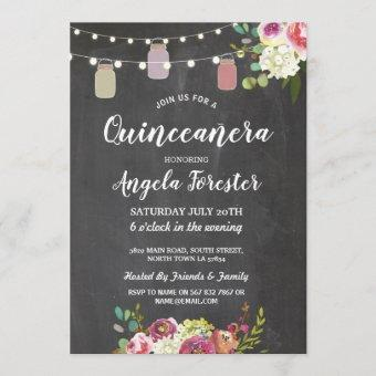 Rustic Jars Quinceanera Party Chalk Floral Lights Invitation