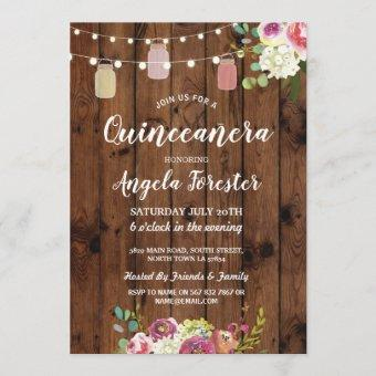 Rustic Jars Quinceanera Party Wood Floral Lights Invitation