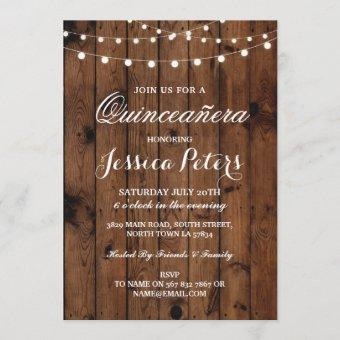 Rustic Quinceanera Party Floral Wood Lights Invite