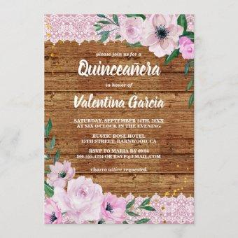 Rustic Quinceanera Wood Lace and Pink Flowers Invitation