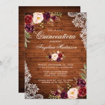 Rustic Quinceanera Wood Lace Burgundy Floral Invitation