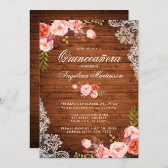 Rustic Quinceanera Wood Lace Coral Floral Invitation