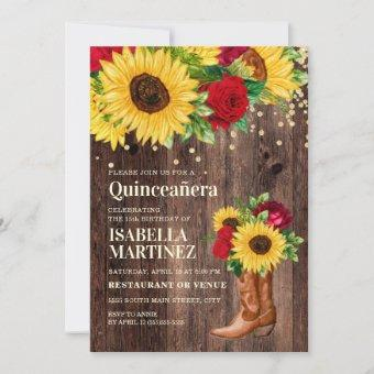 Rustic Sunflower Red Roses Boots Quinceañera  Invitation