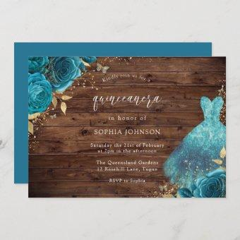 Rustic Teal Sparkle Dress Rose Quinceanera Party Invitation