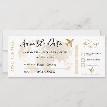 Save the date chic gold world map boarding pass