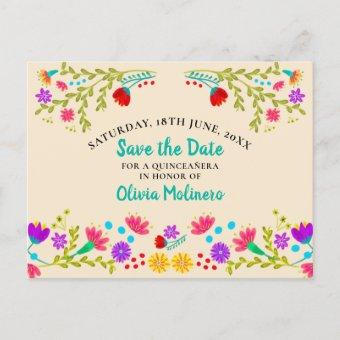Save the Date  Floral Mexican Fiesta Champagne Announcement Postcard