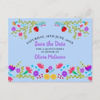 Save the Date  Floral Mexican Fiesta Light Blue Announcement Postcard