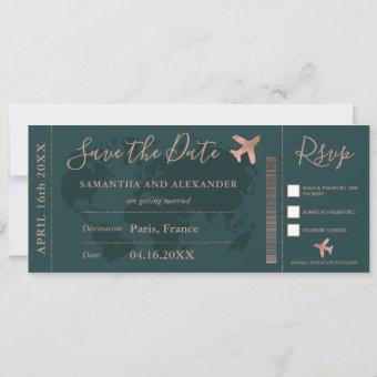 Save the date rose gold world map boarding pass