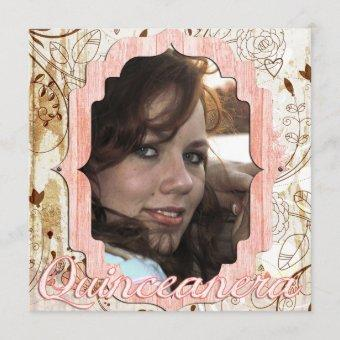 Shabby Chic Quinceanera Vintage Photo Card Announc