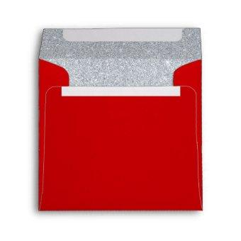 Silver and Ruby Red Sparkly Birthday Invitation Envelope