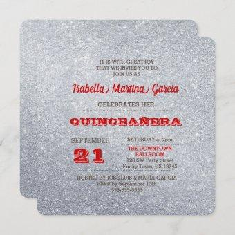Silver and Ruby Red Sparkly Quinceañera Invitation