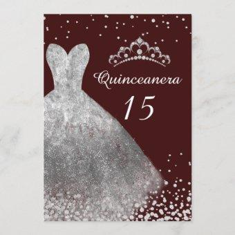 Silver Dress Gown Burgundy Quinceanera Party 15th Invitation