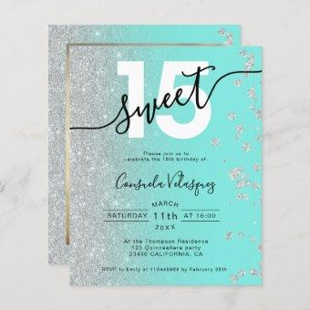 Silver glitter teal Quinceanera photo budget