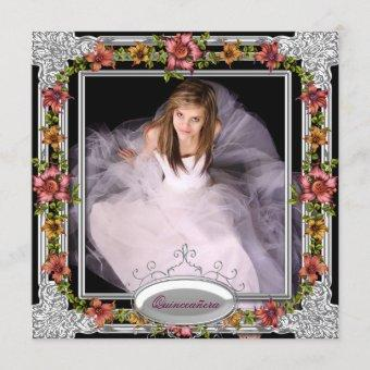 Silver Gold Coral Pink Flowers Photo Quinceanera Invitation