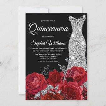 Silver Gown Red Roses Black Quinceanera Party Invitation