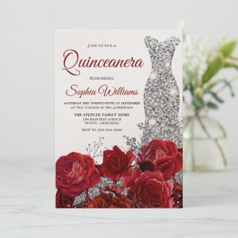 Silver Gown Red Roses Shimmer Quinceanera Party Invitation