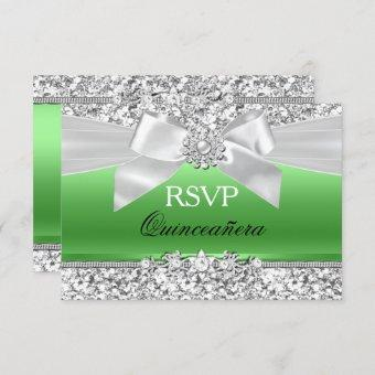Silver Lime Green Glitter Bow Quinceanera RSVP Invitation