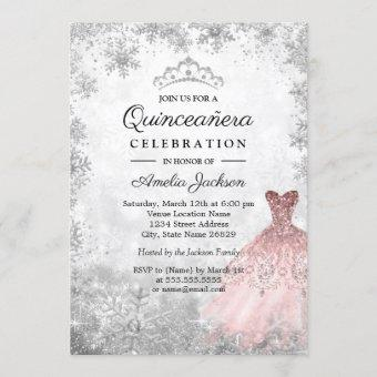 Silver Pink Dress Snowflakes Winter Quinceanera Invitation