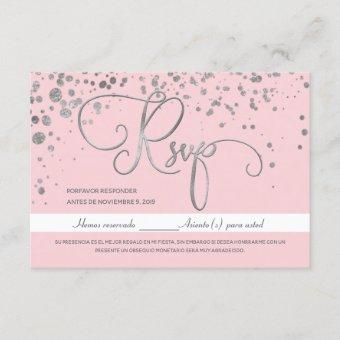 Silver Pink Mis Quince Anos RSVP, Spanish Response Invitation