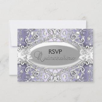 Silver & Purple Damask Pearl Quinceanera RSVP