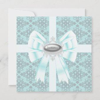 Silver Teal Blue Damask Party Template