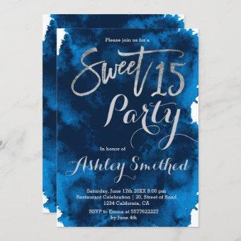 Silver typography navy blue watercolor Sweet 15 Invitation