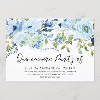 Sky Blue Watercolor Flowers Quinceanera Party Invitation
