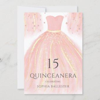 Soft Pink Glitter Dress Sweet 15 Quinceanera Party Invitation