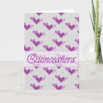 Spanish Quinceanera Pink Purple Hearts Card