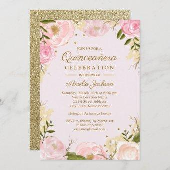 Sparkle Floral Gold Pink Quinceanera Invitation