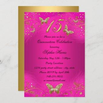Sparkle Hot Pink & Gold Butterfly Quinceanera Invitation