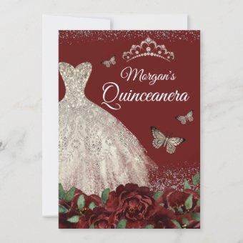 Sparkle Jewel Dress Butterfly Quinceanera Invitation