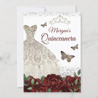 Sparkle Silver Jewel Dress Butterfly Quinceanera Invitation