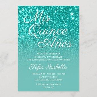 Sparkly Bokeh Teal Glitter Ombre Mis Quince Años Invitation