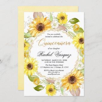 Sunflowers yellow and gold floral Quinceanera Invitation