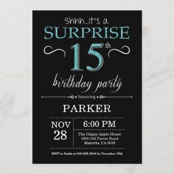 Surprise 15th Birthday Invitation Black and Teal