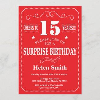 Surprise 15th Birthday Invitation Red and White