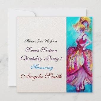 SWEET 16 BIRTHDAY PARTY Red Pink Blue Turquoise Invitation