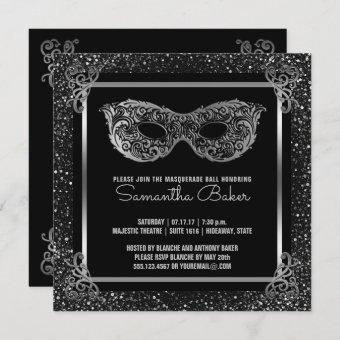 Sweet 16 Masquerade Party   Sweet Sixteen Silver Invitation