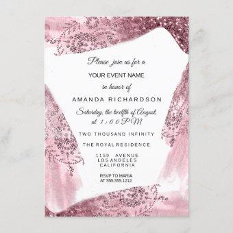 Sweet 16th Bridal Pink Dress Rose Quineanera White Invitation