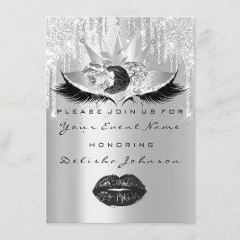 Sweet 16th Quinceanera  Bridal Makeup Crown Roses Invitation