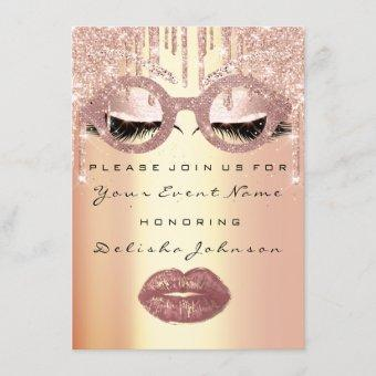 Sweet 16th Rose Glass Bridal Quinceanera Makeup Invitation