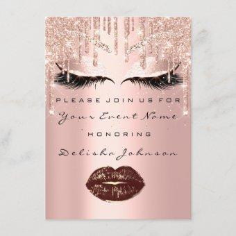 Sweet 16th Rose Gold Bridal Quinceanera Makeup Invitation