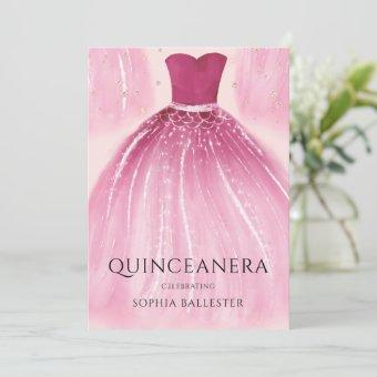 Sweet Blush Pink Mermaid Dress Quinceanera Party Invitation