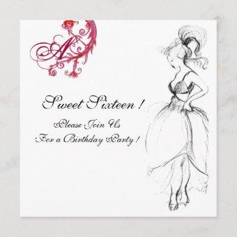 SWEET SIXTEEN PARTY MONOGRAM, red black and white Invitation